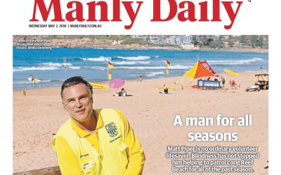 Matt Piper and Longy on the Manly Daily front page