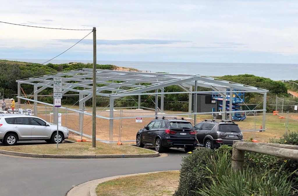 Long Reef SLSC Temporary Club House takes shape, 20 October 2020